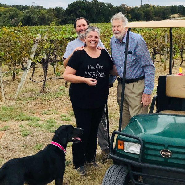 Dr Bobby Smith with Debbie Ray and John Wilson at La Buena Vida Vineyards